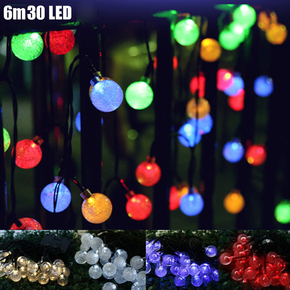 solar powered fairy lights bubble ball 6m 30 led christmas lights outdoor string lighting for wedding party garden xmas ornament in lighting strings from
