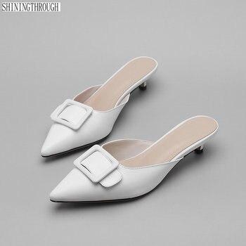 3815b9941ba0 De cuero de vaca zapatillas mujer Zapatillas poined dedo del pie bajo  delgada tacones calzado diapositivas sandalias zapatos de mujer zapatos de  ...