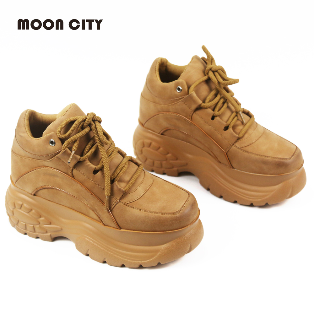 2019 Brand Pink Platform Sneakers Spring & Autumn Lady Causal Sneakers Woman Leather Platform Shoes Camel Fashion Sports Shoes