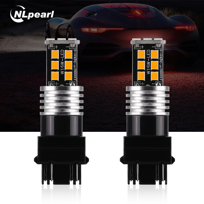 NLpearl 2x Signal Lamp T25 <font><b>Led</b></font> Canbus 3156 3157 <font><b>LED</b></font> P27/7W P27W 2835SMD <font><b>T20</b></font> W21W <font><b>Led</b></font> 7443 7440 Reverse Lights Brake Light <font><b>Red</b></font> image