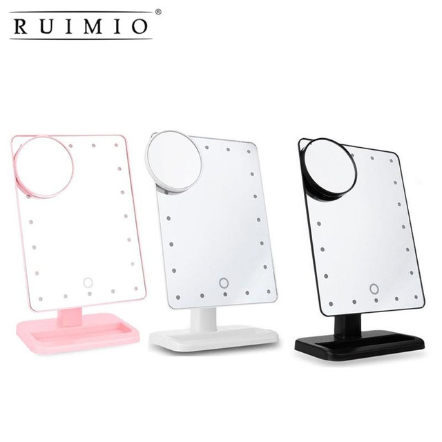 Rectangular 20 led lighted vanity mirror touch screen battery rectangular 20 led lighted vanity mirror touch screen battery powered makeup mirrors lady portable compact tabletop mozeypictures Gallery