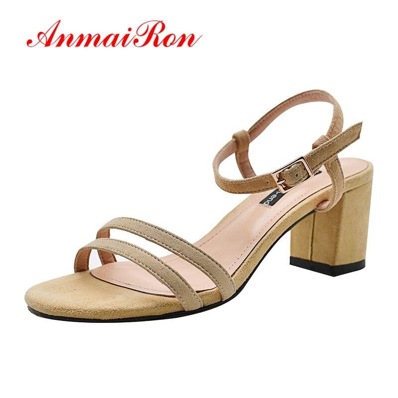 ANMAIRON nouvelle mode de base décontracté femmes chaussures boucle sangle solide sandales femmes taille 33-40 LY1486