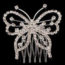 Hot Women Girls Elegant Butterfly Rhinestone Crystal  Wedding Bridal Hair Comb Clip Jewelry hair accessories 5BTO 7EEL