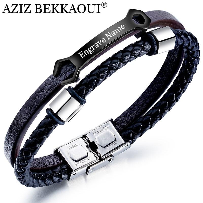 Aziz bekkaoui carta diy dupla camada pulseira de couro para homens gravar nome aço inoxidável pulseiras do vintage