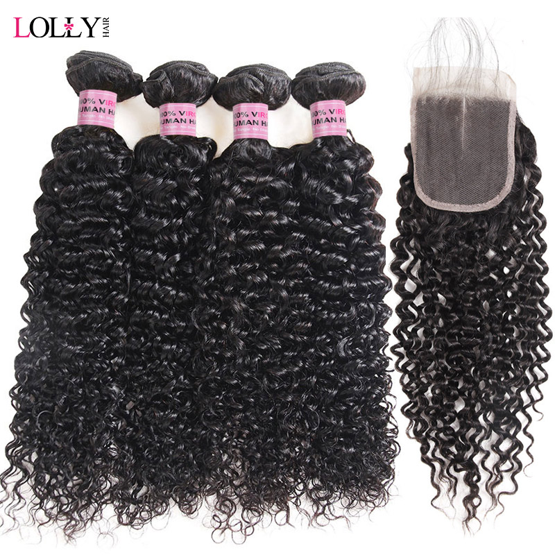 Lolly 3/4 Bundles Curly Hair With Closure Brazilian Hair Weave Bundles With Closure Non Remy Human Hair Weaves With Closure
