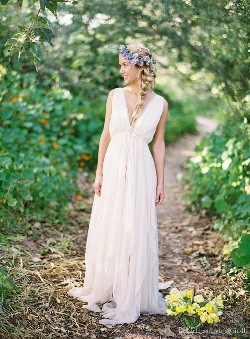 Summer Style Chiffon Grecian Backless Beach Wedding Dresses 2016 V Neck Boho Bridal Gown Vintage Greek Goddess Wedding Gown