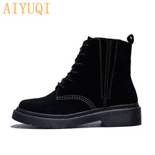 Women boots genuine leather ankle boots women 2019 new autumn suede Martin boots female British style single shoes aiyuqi women martin boots suede women low heeled 2019 new genuine leather shining boots pointed british wind female ankle boots
