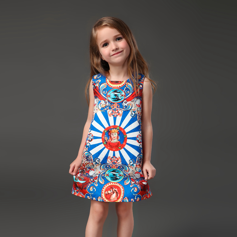 Spring Summer family matching clothes Italian fashion head print women kids girl sleeveless A-line dress mother daughter dresses