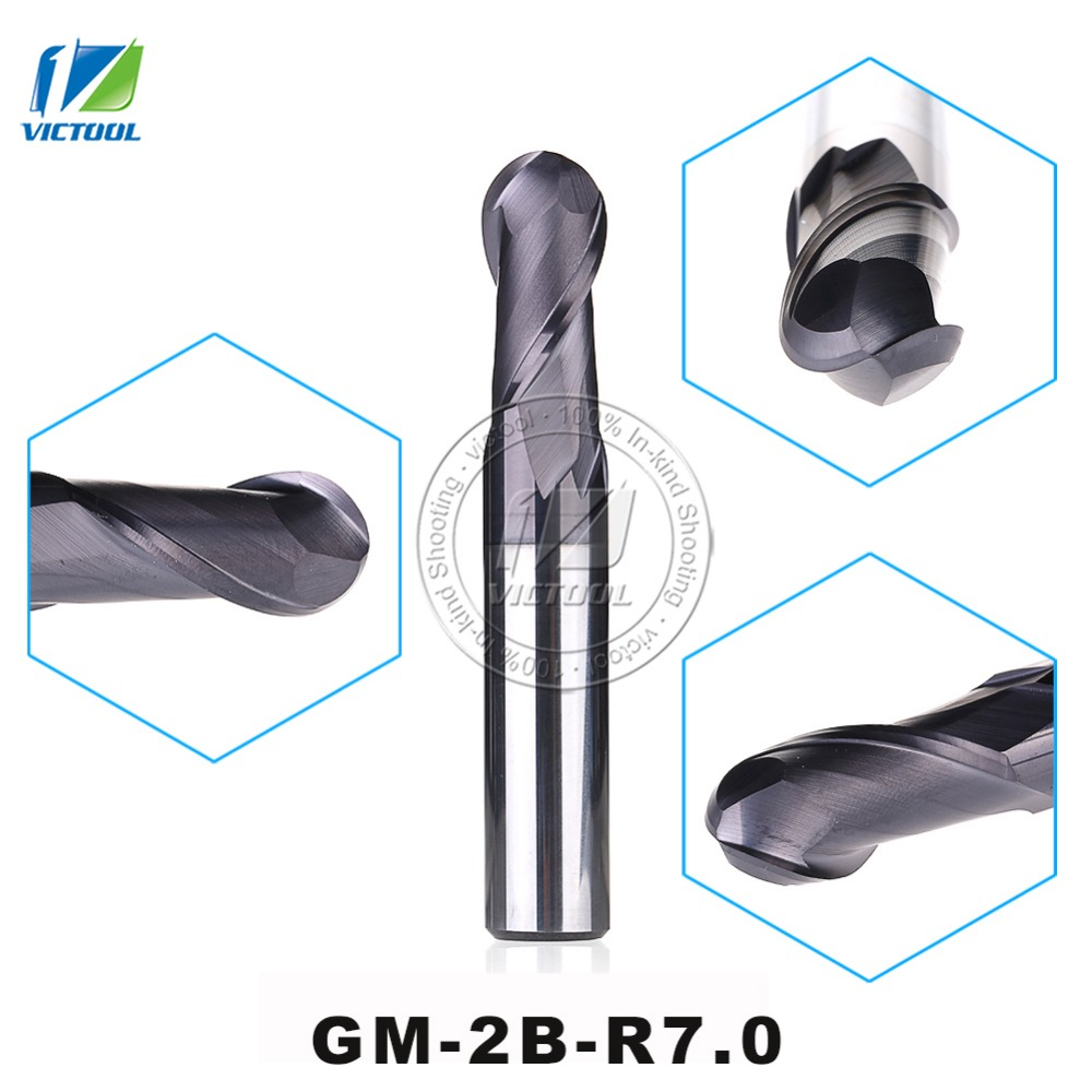 GM-2B-R7.0 Cemented Carbide High Speed Machining Applicable 2-Flute Ball Nose End Mills Straight Shank Cutting Tools