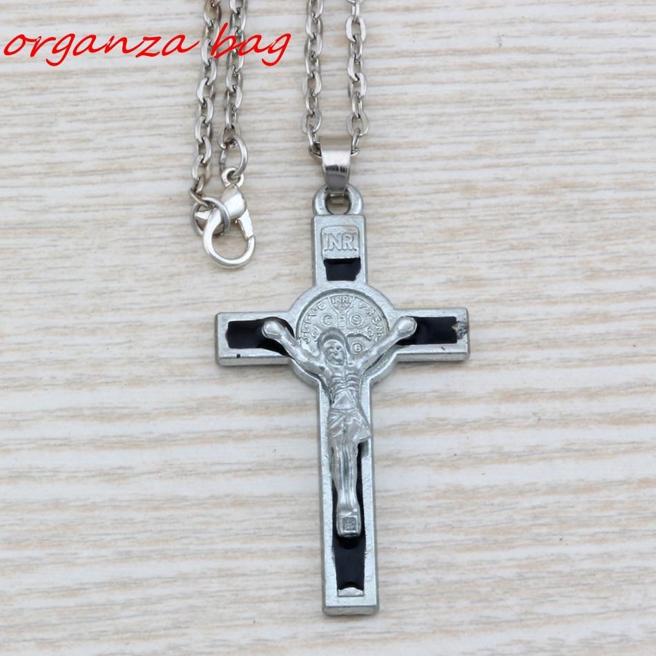 Hot !  1pcs INRI Crucifix black Enamel Saint Benedict Medal Cross Religious Pendant Necklaces 20 inches Chains 29x59mm c20 crucifixo pingente de ouro masculino