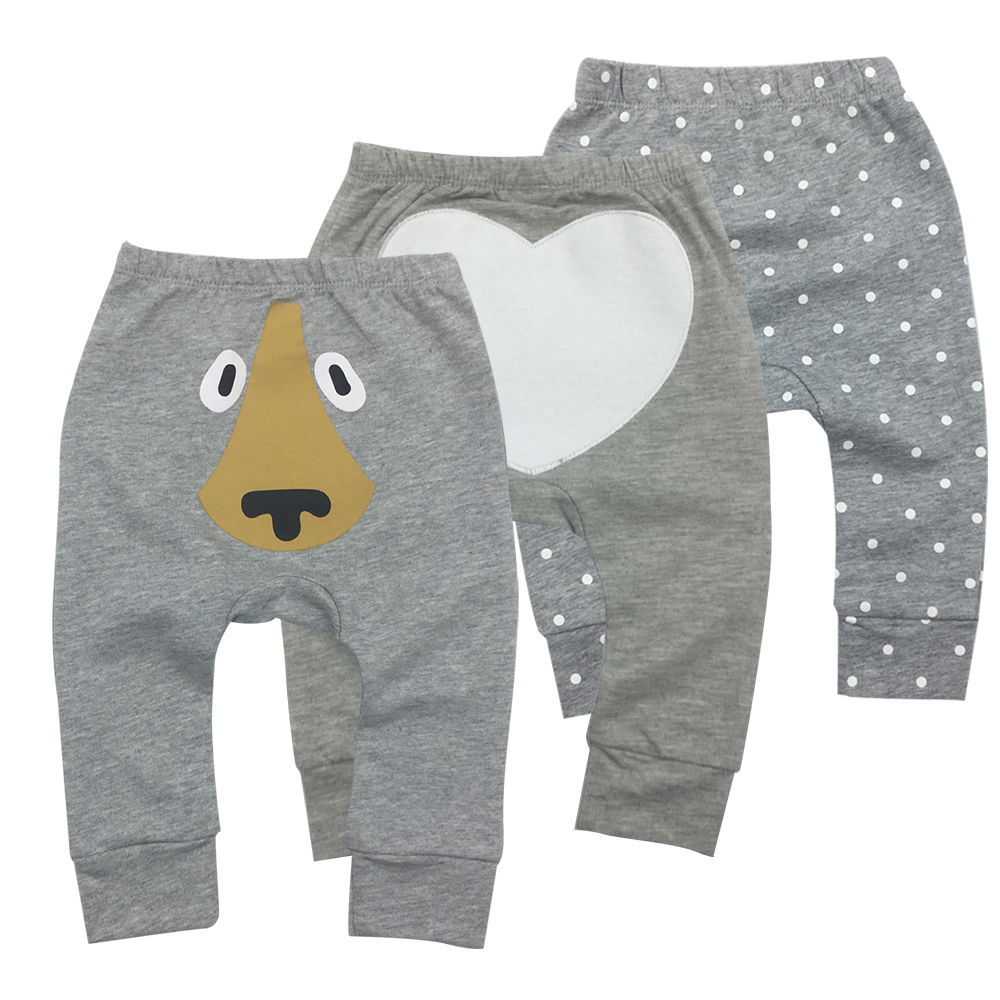 Baby Clothes Baby Pants 3 Pieces Cartoon Toddler Boy Girl Leggings Full Length Elastic Waist Kids Pant Trousers(China)