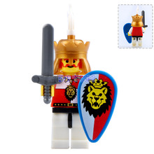 DR TONG Super Heroes Medieval Castle Lion King Knight Heavy Shield with Weapons Figures Building Blocks