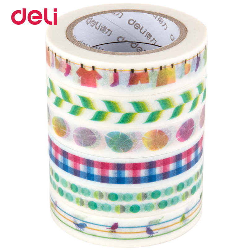 Deli 6pcs a set adhesive Washi Tape 10mm*10meter Kawaii stripe Scrapbooking Masking Tape Album Diy Decorative Tapes single-side 8m 15mm diy cute kawaii decorative masking washi tape star adhesive tape for photo album korean stationery student 3465