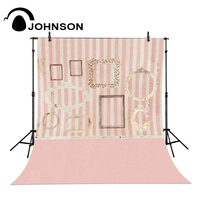 Pink Stripes Frame Girl Photo Backdrop Vinyl Cloth Computer Printed Wall Photo Studio Background