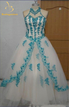 2015 Newest Romantic Red Blue Lace Quinceanera Dresses Ball Gowns High Beaded Appliques Sweet 16 Dress Vestidos De 15 Anos QA389