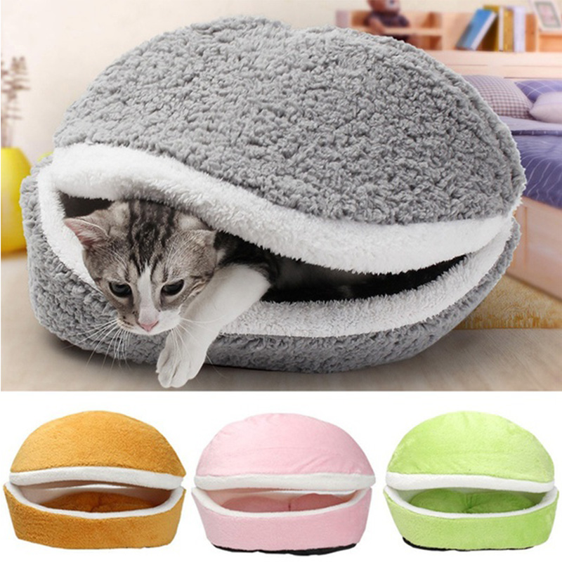 US $12 0 |Removable Cats Sleeping Bag Sofas Mat Hamburger Dog House Short  Plush Exploding Kittens Bed Warm Puppy Kennel Nest Pets Products-in Cat  Beds