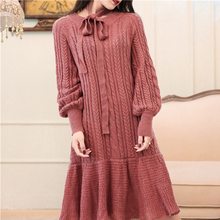 fe176e7112 Pengpious 2018 brick red wool blended dress female lantern sleeve dresses  for women