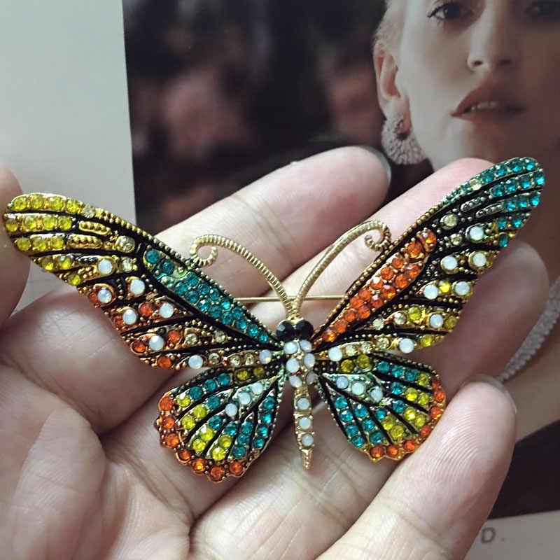Blucome Fashion Wanita Kupu-kupu Bros Pins Wanita colares Sempurna Berlian Imitasi Kristal Pin Jilbab Dan Bros Broches Pins