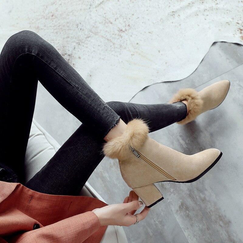 Mode Taille Chaussure Fourrure Hauts Cheville 6 Bout Nubuck Beige Bloc À De Haut Chaussures 18728 Cm 34 Femmes 43 Black D'hiver Pointu Bottes 18728 Talons Drfargo Lapin xBYHE6q