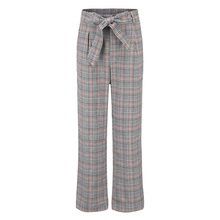 JYSS Women casual streetwear pants women mid waist plaid pattern comfortable straight girl trousers HCY039