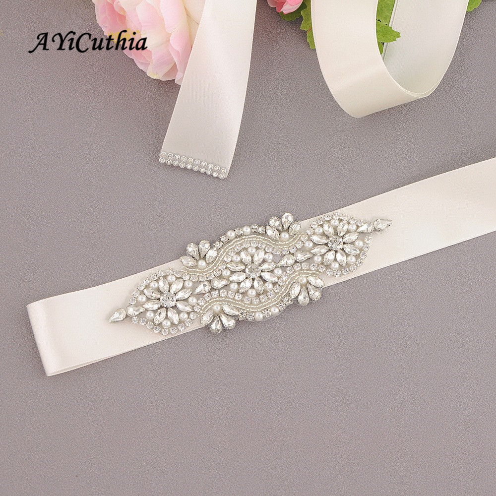 AYiCuthia Crystal Wedding Belts Satin Rhinestone Wedding Dress Belt Wedding Accessories Bridal Ribbon Sash Belt Y8