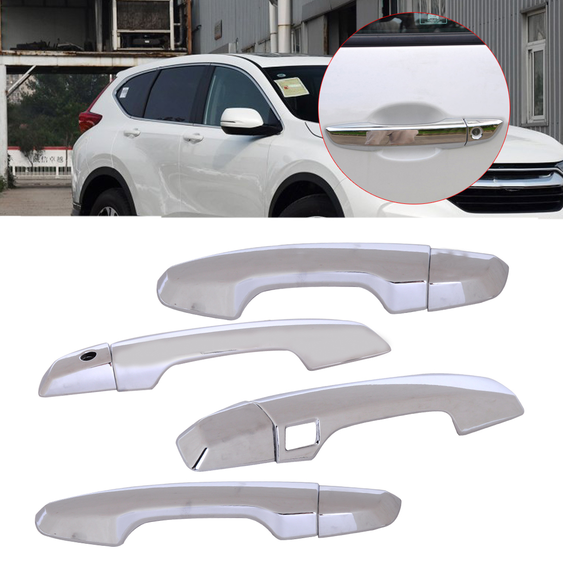 beler 8pcs ABS Plastic Silver Outer Door Handle Trim Cover Molding Car Styling Accessories Decorations Fit For Honda CRV 2017