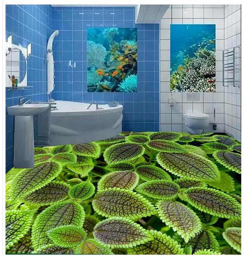 Green flower 3d stereoscopic floor custom photo floor for 3d wallpaper waterproof