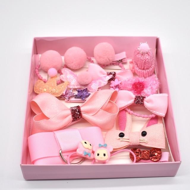 18 Pcs/Box New Children Accessories Hairpins Fabric Hair clips Girls Headdress 4