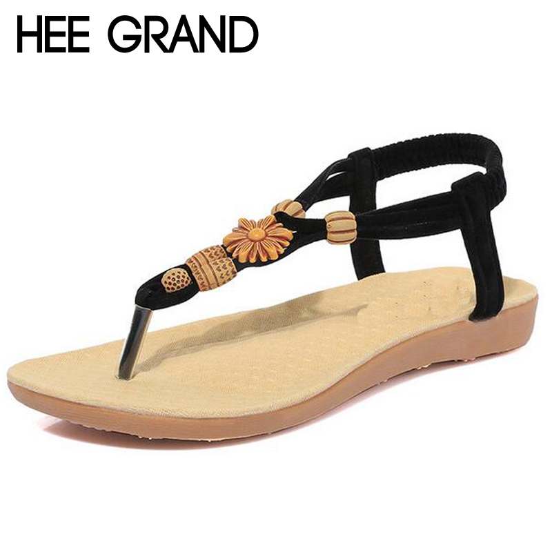 HEE GRAND Brand Bohemia Beading Sandals Women Flat With Flip Flops Gladiator Summer Style Shoes Woman XWZ3542 hee grand gladiator sandals summer style flip flops elegant platform shoes woman pearl wedges sandals casual women shoes xwz1937