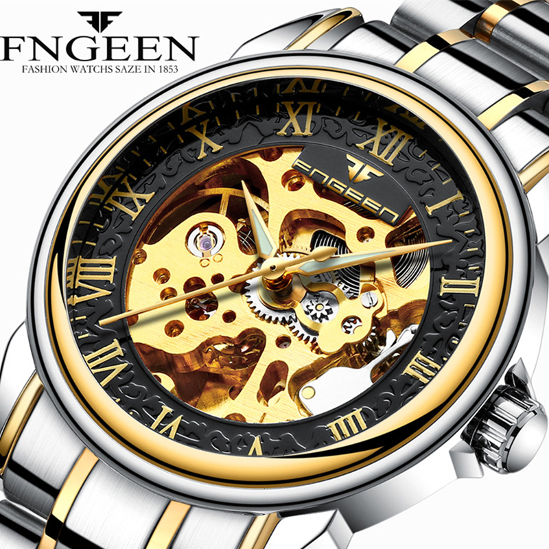 FNGEEN Automatic Mechanical Watches Fashion Men Wristwatch Between The Gold Clock Stainless Steel Mens Wrist Watch Box Relogio