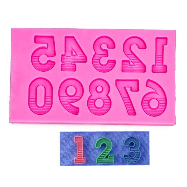 Engelenvleugels Food grade fondant cake silicone mold Arabische cijfers voor Reverse vormen polymeer chocolade decoratie gereedschappen F1158