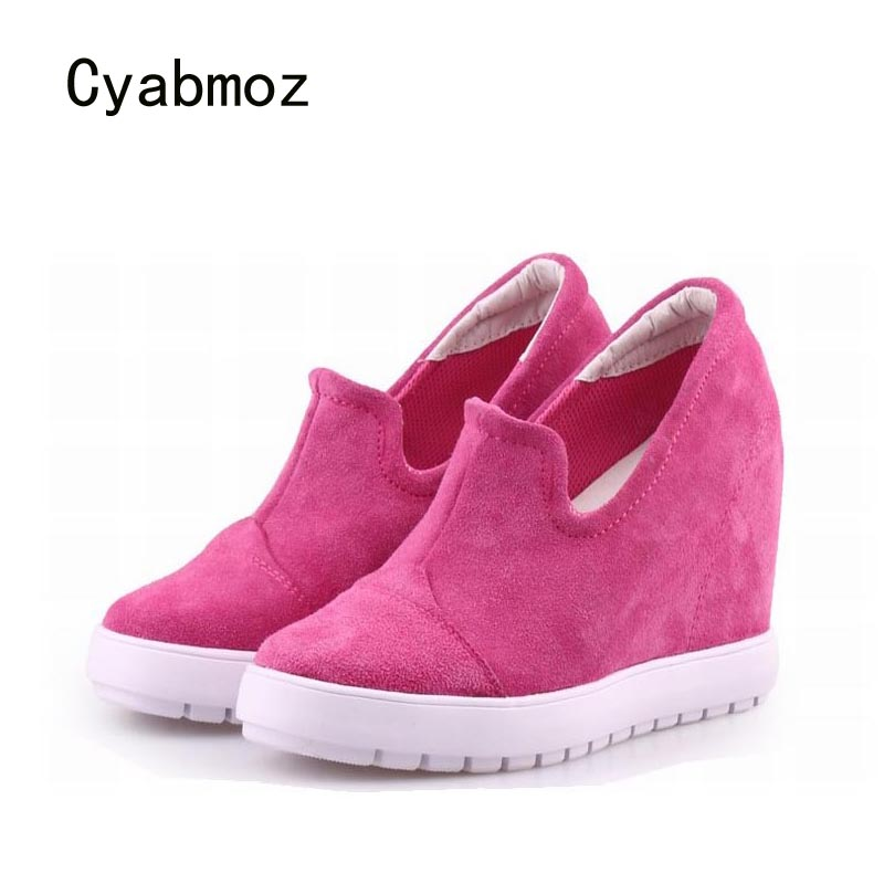 Cyabmoz Genuine leather Women Shoes High heels Woman Platform Wedge Ladies Height increasing Shoes Zapatos mujer Tenis feminino цена и фото