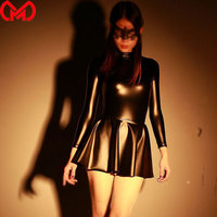 MEISE Sexy Leather Halloween Cosplay Student Pleated Mini Flounced Dress Maid Latex Long Sleeve Nightclub Party Dresses F74