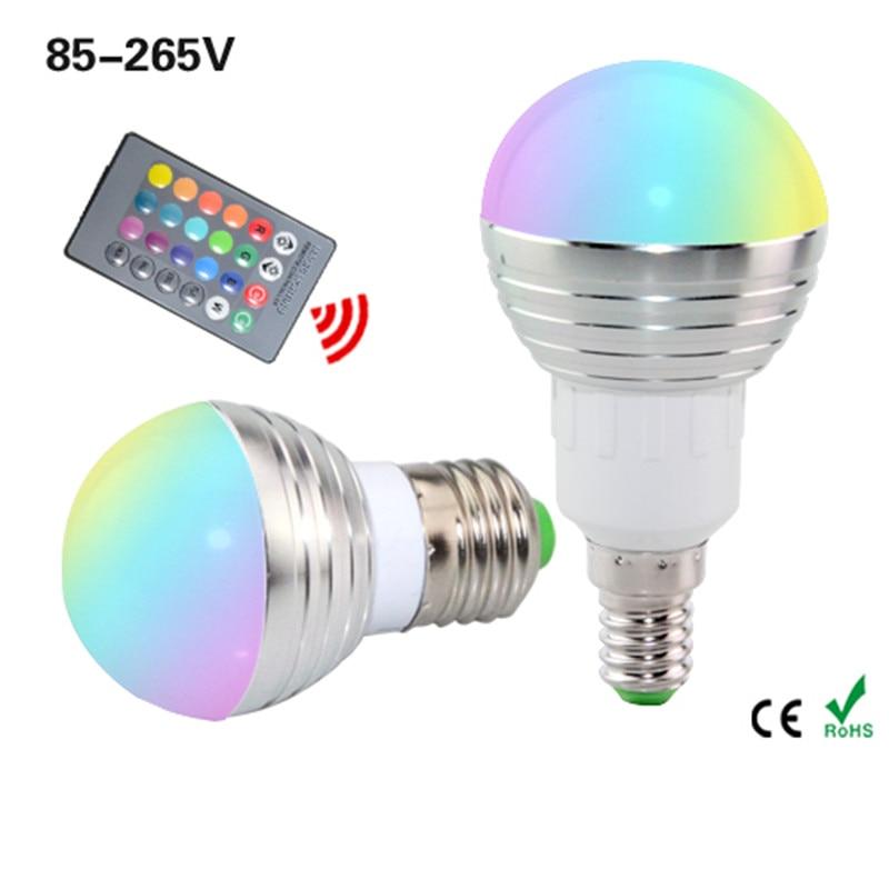 1 шт. E27 E14  лампа из светодиодов RGB AC 110 220 В 5Вт  колба лампы RGB с регулируемой яркостью  волшебный светодиод для празника +один IR пульт дистанционного управления 16 цветов