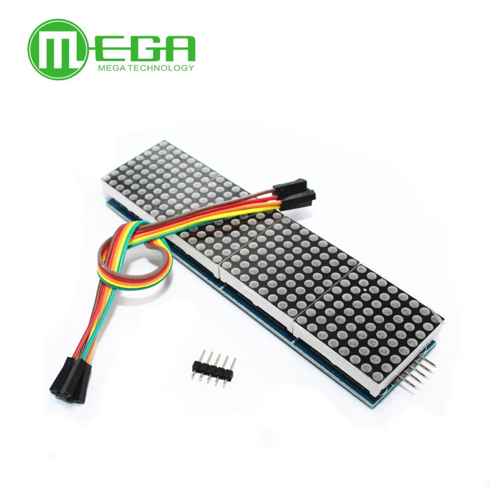 1pcs MAX7219 Dot Matrix Module For Microcontroller 4 In One Display with 5P Line-in Integrated Circuits from Electronic Components & Supplies