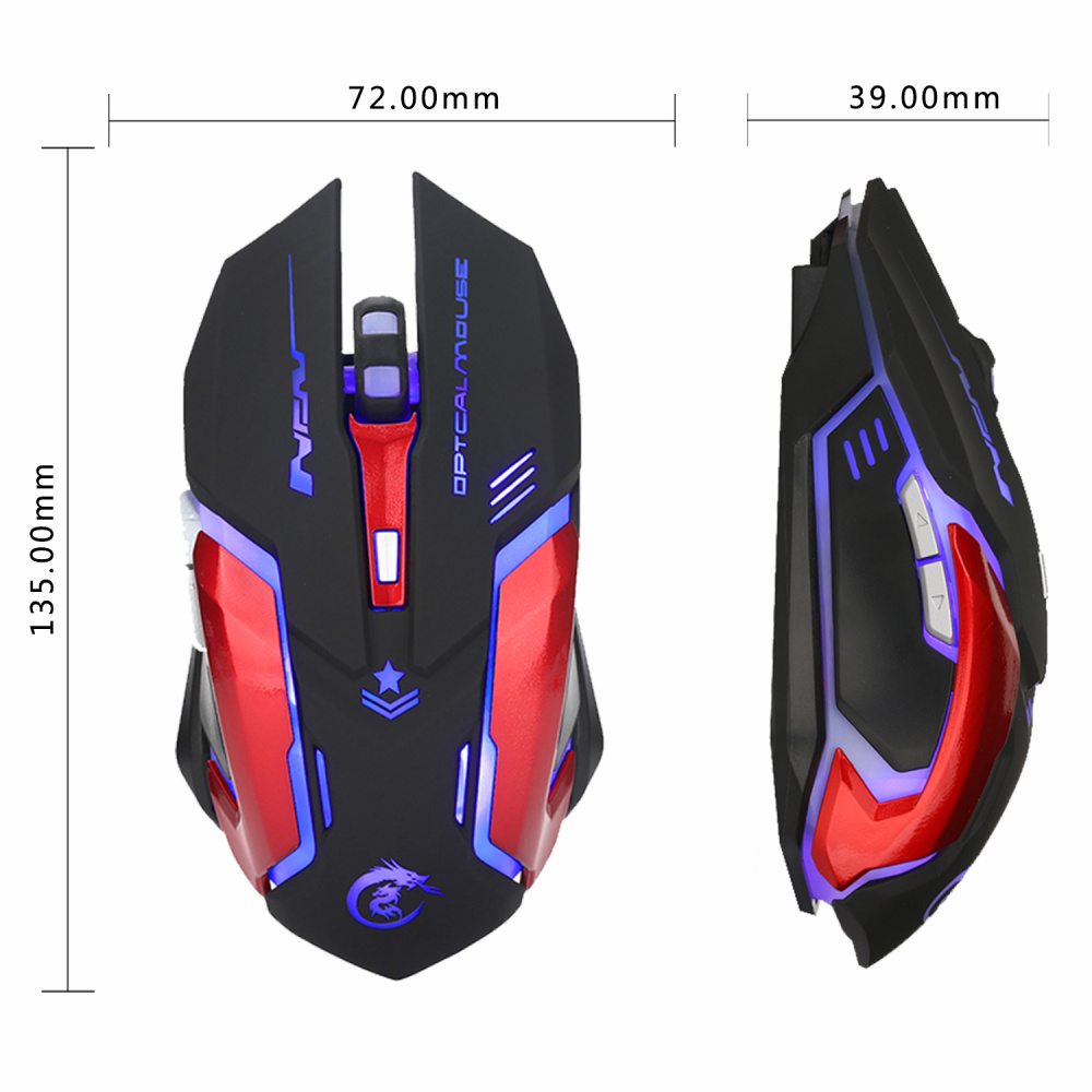 Image 2 - HXSJ 3200DPI Professional USB Wired Quick Moving LED Light With 6 Buttons Gaming Mouse For computer laptop-in Mice from Computer & Office