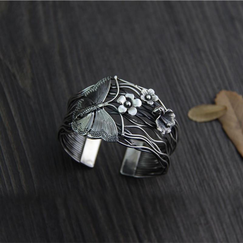 925 Sterling Silver Cuff Bangle For Women Butterfly & Flower Thai Silver Jewelry Original Design Bracelet brazalete de joy delicate alloy butterfly cuff bracelet for women