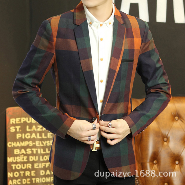 efc1502b2b3 Fall 2017 youth checked dress Men s cultivate one s morality leisure  printing checked blazer