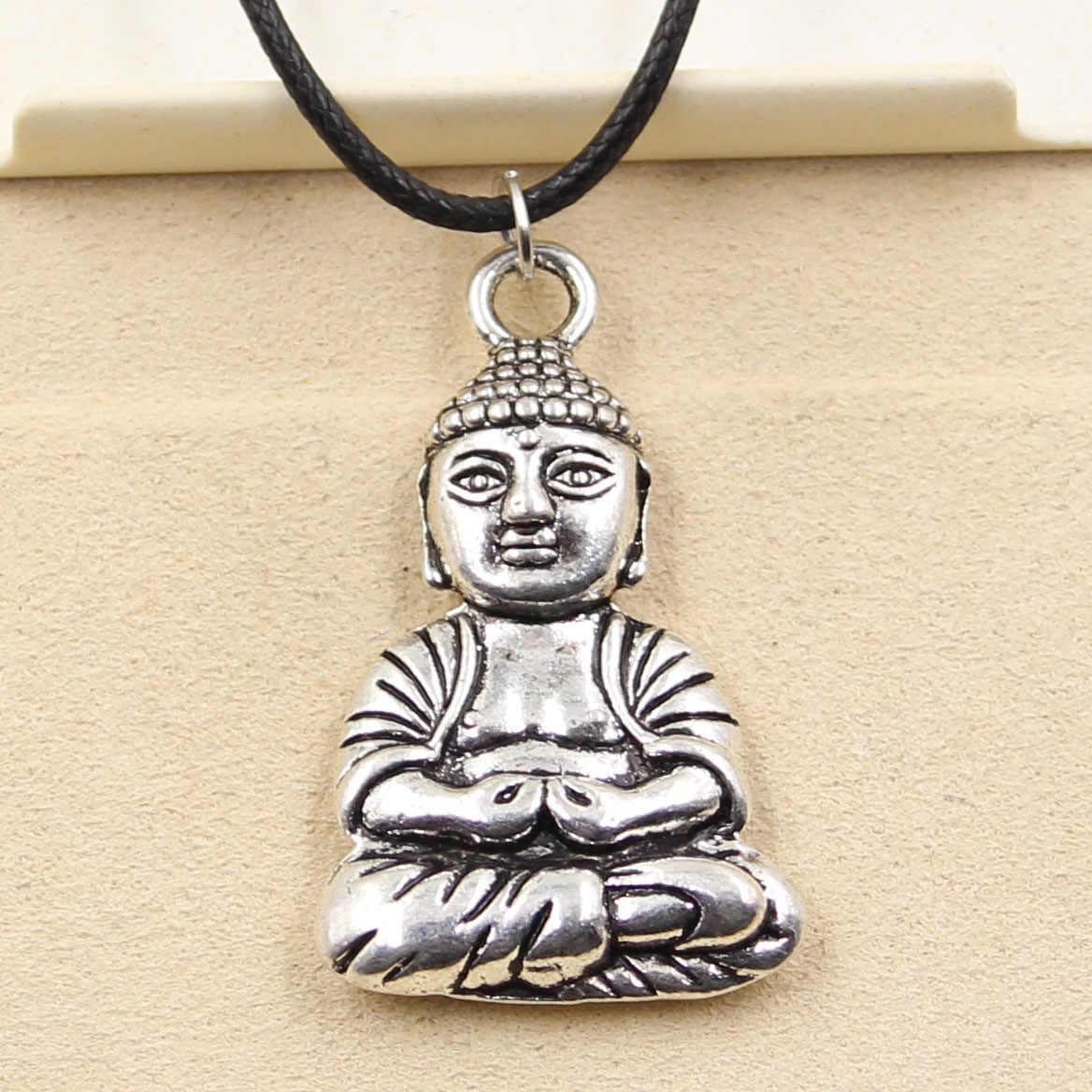 Nowe mody tybetański srebrny kolorowy wisiorek naszyjnik buddy Choker urok czarny skórzany sznur cena fabryczna ręcznie robiona biżuteria