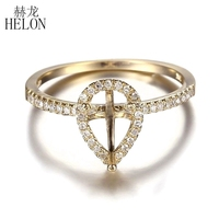HELON Solid 14k Yellow Gold 7X5MM Pear Cut Semi Mount 100% Genuine Natural Diamonds Engagement Wedding Women's Fine Jewelry Ring