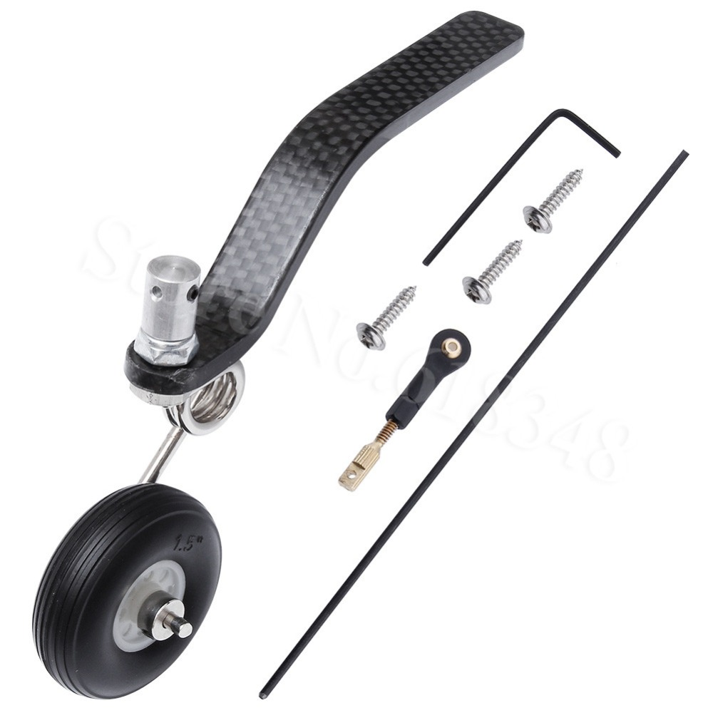 50cc Nitro Great Plane Landing Gear Carbon Tail Wheel Assembly 1.5 inches Rubber Tire Kit RC Airplane Replacement Parts tailskid tail wheel tailwheel type landing gear set for 30cc 50cc aircraft with taildragger