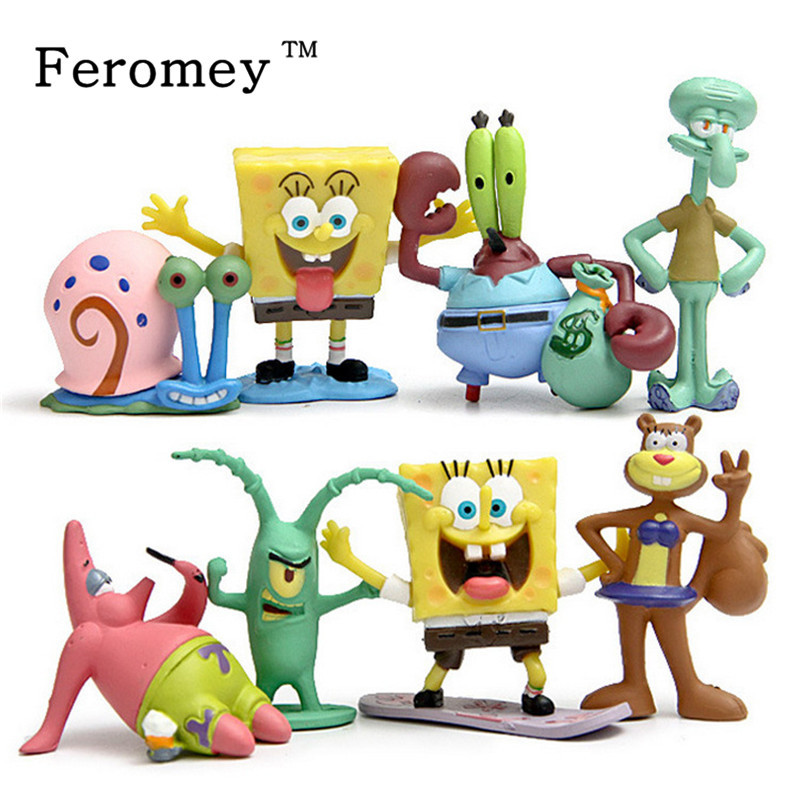 Animation Kawaii SpongeBob Patrick Star Model Action Figure Toys Doll Cartoon Sponge Bob Mini Figure Toys Children Gift