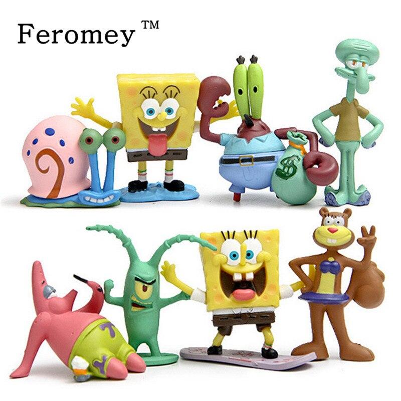 Animation Kawaii SpongeBob Patrick Star Modell Action Figure Spielzeug Puppe Cartoon Sponge Bob Mini Figur Spielzeug Kinder Geschenk