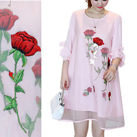 New Women Long Maxi Blouses European Style Elegant Rose Embroidery Tops Flare Sleeve Short Party Pink Blouses for Women NS04