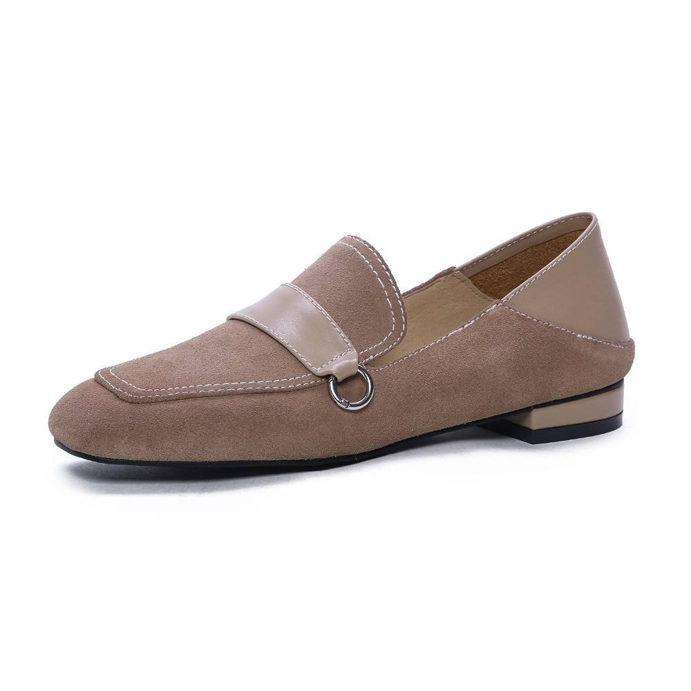 Calidad Escuela Tacón Gran caqui Zapatos Cuero Negro Primavera De Pie Tamaño Británica L15 Resbalón Simple Del En Natural Alta Cuadrado Bajo Las Dedo rosado Mujeres nXSTaqXw