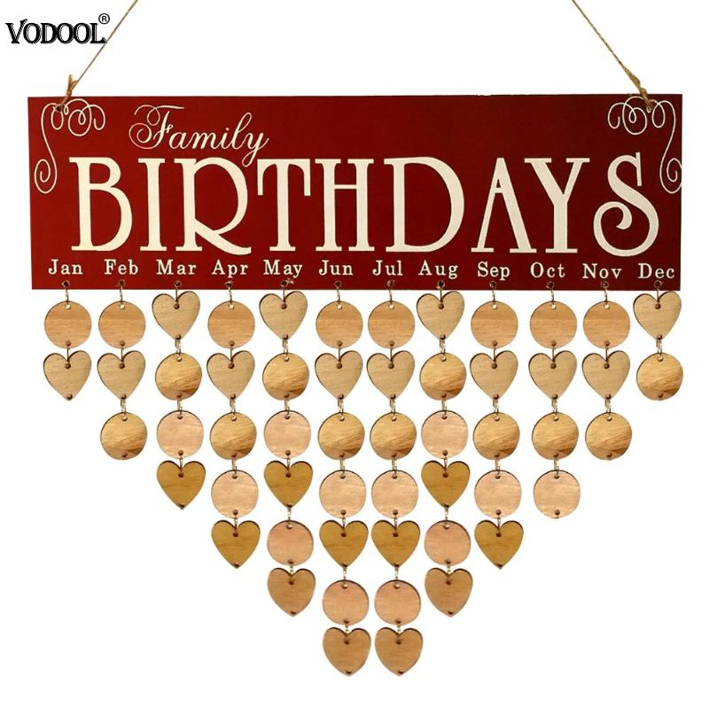 Wooden Calendar Reminder Board Birthday Family Date Sign DIY Hanging Planner Message Calendar DIY Home Holiday Party Decoration цены