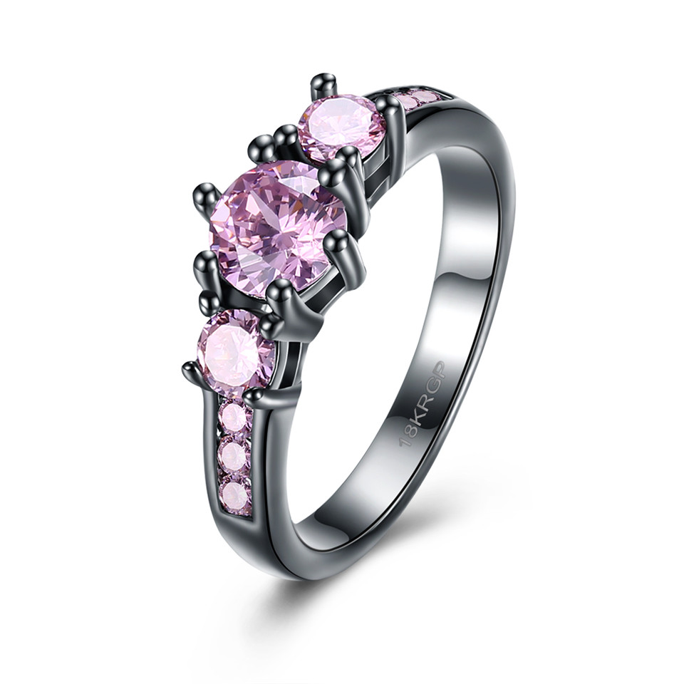 Fashion Pink Blue Purple Yellow Stone Women's Wedding Rings Romantic  Elegant Princess Engagement Rings For Women Black Color