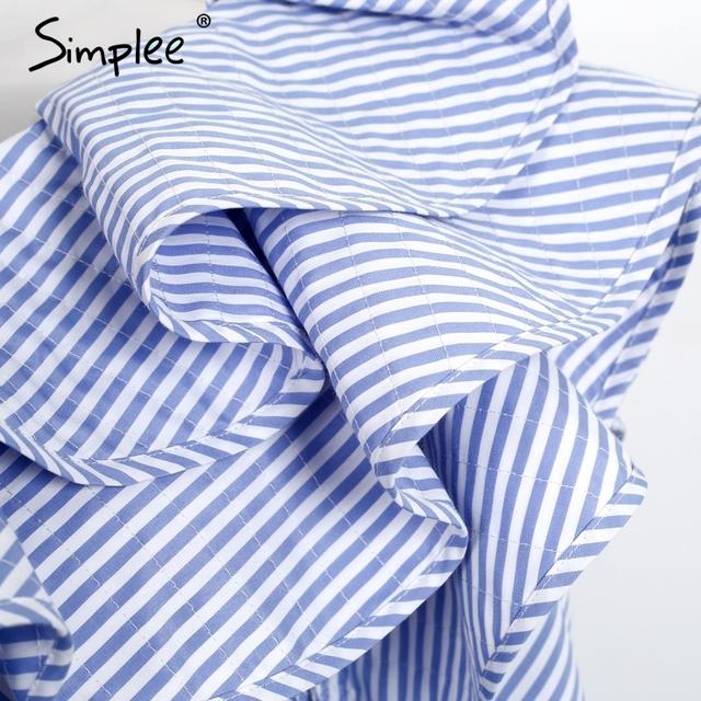 Simplee One shoulder ruffles blouse shirt women tops 2016 autumn Casual blue striped shirt Long sleeve cool blouse winter blusas