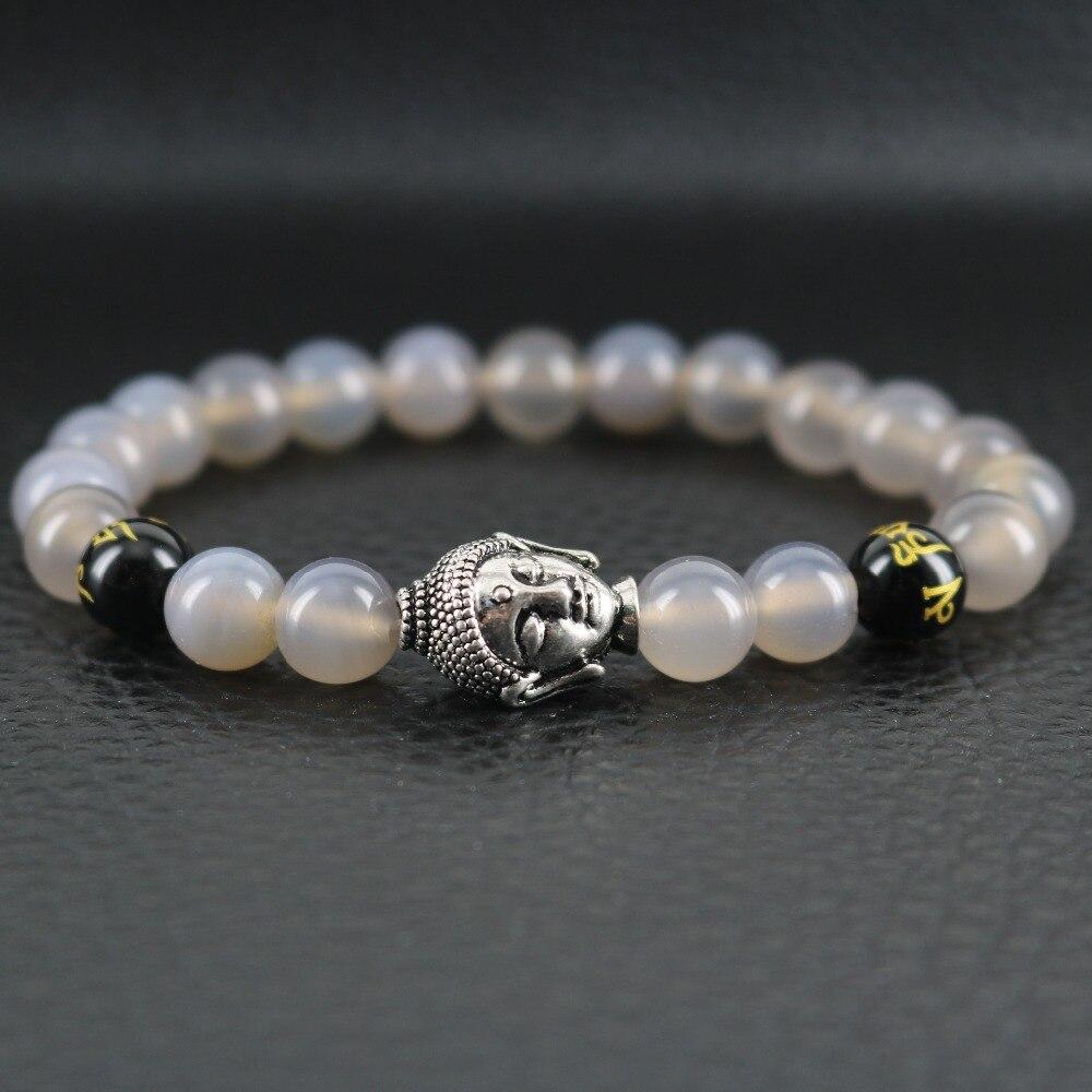 Energy Healing Men Bracelet Stone Jewelry Grey Onyx Buddha Bangles Stretch Bracelet Men Boyfriend Gift for Husband