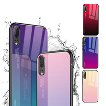 Gradient Tempered Glass Phone Case For Huawei Honor 20 Pro P20 Lite 2019 P Smart 2019 Nova 5i P30 Pro Lite Cover Housing(China)